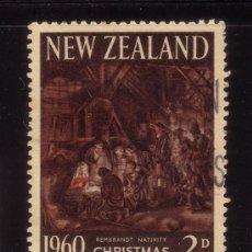 Sellos: NUEVA ZELANDA 404 - AÑO 1960 - NAVIDAD - PINTURA RELIGIOSA - OBRA DE REMBRANT. Lote 34336540