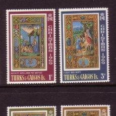 Sellos: TURKS & CAICOS 237/40** - AÑO 1969 - NAVIDAD - MINIATURAS DEL LIBRO DE HORAS DE LEONOR DE TOSCANA. Lote 155461902