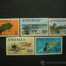 Sellos: ANGUILLA 1969 IVERT 47/51 *** NAVIDAD - TIPOS DE 1967 SOBRECARGADOS. Lote 36416719