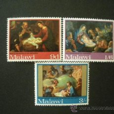 Sellos: MALAWI 1968 IVERT 89/91 *** NAVIDAD - PINTURA RELIGIOSA. Lote 37320763