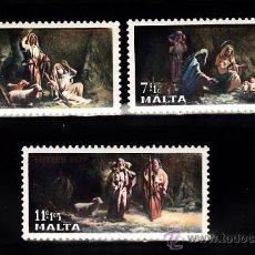 Sellos: MALTA 554/56** - AÑO 1977 - NAVIDAD - PINTURA RELIGIOSA. Lote 38881686