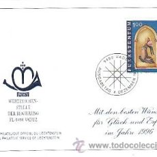 Sellos: LIECHTENSTEIN IVERT 1063, NAVIDAD 1995, PINTURA MEDIEVAL, ANGEL, PRIMER DIA DE 4-12-1995. Lote 39808710