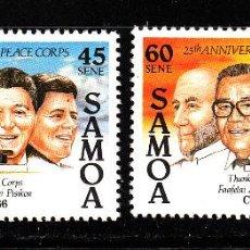 Sellos: SAMOA 621/22** - AÑO 1986 - NAVIDAD - 25º ANIVERSARIO DEL CUERPO DE PAZ DE ESTADOS UNIDOS. Lote 269748088