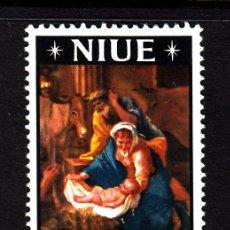 Sellos: NIUE 106** - AÑO 1967 - NAVIDAD - PINTURA RELIGIOSA - OBRA DE NICOLAS POUSSIN. Lote 155463642