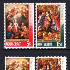Sellos: MONTSERRAT 208/11** - AÑO 1968 - NAVIDAD - PINTURA RELIGIOSA - OBRAS DE MURILLO Y BOTTICELLI. Lote 175160985
