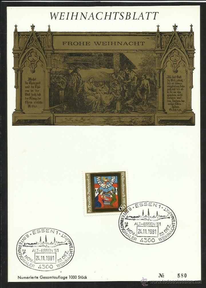ALEMANIA 1981 FICHA PRESENTACION SELLO NAVIDAD 81- CHRISTMAS- BIBLIA- RELIGION- INCLUYE SELLO (Sellos - Temáticas - Navidad)