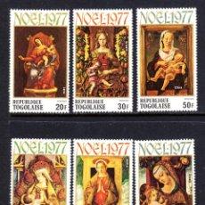 Sellos: TOGO 909/11 Y AÉREO 333/35** - AÑO 1977 - NAVIDAD - PINTURA RELIGIOSA. Lote 51921217