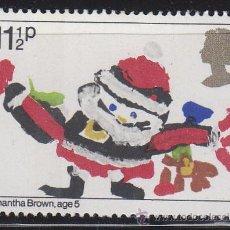 Sellos: INGLATERRA IVERT 1011, NAVIDAD 1981, DIBUJOS DE NIÑOS (PAPÁ NOEL), NUEVO. Lote 178022865