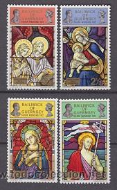 GUERNSEY 66/69** - AÑO 1972 - NAVIDAD - VIDRIERAS DE IGLESIAS (Sellos - Temáticas - Navidad)