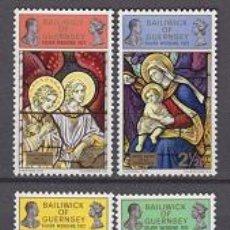 Sellos: GUERNSEY 66/69** - AÑO 1972 - NAVIDAD - VIDRIERAS DE IGLESIAS. Lote 109232538