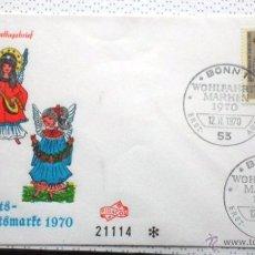 Sellos: ALEMANIA 1970 SOBRE PRIMER DIA CIRCULACION RELIGION- NAVIDAD- CHRISTMAS- NACIMIENTO- BELEN- FDC. Lote 54784253