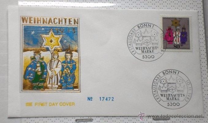 ALEMANIA 1983 SOBRE PRIMER DIA CIRCULACION RELIGION- NAVIDAD- CHRISTMAS- NACIMIENTO- BELEN- FDC (Sellos - Temáticas - Navidad)