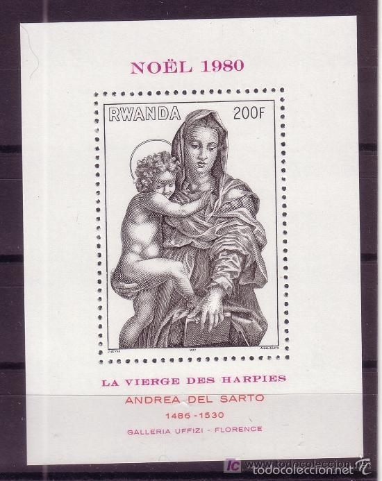 RWANDA 1980 IVERT HB 91 *** NAVIDAD - PINTURA RELIGIOSA DE ANDREA DEL SARTO (Sellos - Temáticas - Navidad)