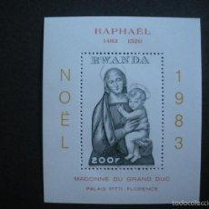Sellos: RWANDA 1983 HB IVERT 98 *** NAVIDAD - 500º ANIVERSARIO NACIMIENTO DE RAPHAEL - PINTURA. Lote 56483538