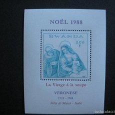 Sellos: RWANDA 1988 HB IVERT 103 *** NAVIDAD - CUADRO DE VERONESE - PINTURA. Lote 56483643