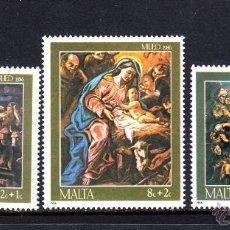 Sellos: MALTA 1986 IVERT 736/8 *** NAVIDAD - PINTURA RELIGIOSA DE GUISEPPE D'ARENA. Lote 57547180