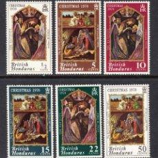 Sellos: HONDURAS BRITANICA 253/58** - AÑO 1970 - NAVIDAD - PINTURA RELIGIOSA - OBRAS DE HUGUES Y BOTTICELLI. Lote 186461507