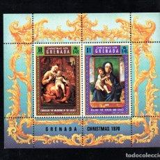 Sellos: GRANADA HB 10** - AÑO 1970 - NAVIDAD - PINTURA RELIGIOSA - OBRAS DE BELLINI Y CORREGIO. Lote 68278377