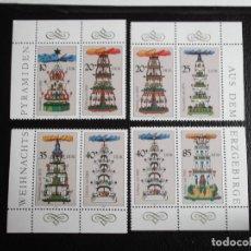 Timbres: DDR. 2748/53 PIRAMIDES DE NAVIDAD DE LAS CIUDADES MINERAS DE SAJONIA, VALORES DE 20 Y 40 REPETIDOS**. Lote 68666297