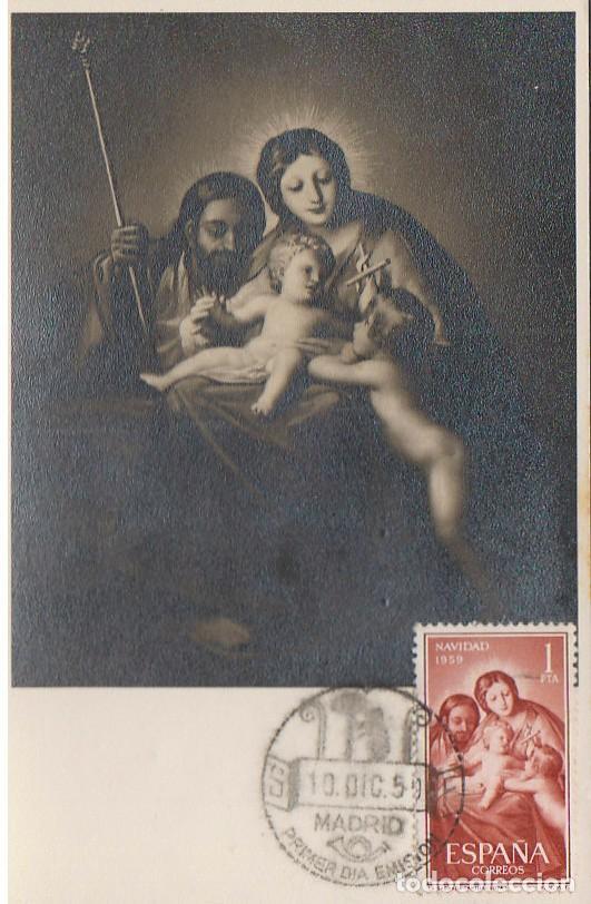 EDIFIL Nº 1253, LA SAGRADA FAMILIA DE GOYA (NAVIDAD 1959), TARJETA MAXIMA DE PRIMR DIA DE 10-12-1959 (Sellos - Temáticas - Navidad)