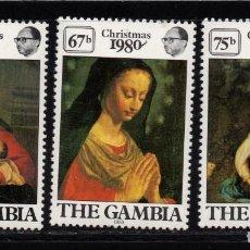 Sellos: GAMBIA 416/18** - AÑO 1980 - NAVIDAD - PINTURA RELIGIOSA - OBRAS DE MURA Y CORREGIO. Lote 95788591