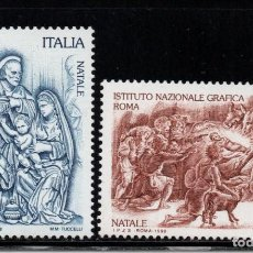 Sellos: ITALIA 2343/44** - AÑO 1998 - NAVIDAD - ESCULTURA - PINTURA. Lote 95979655