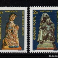 Sellos: HUNGRÍA 2783/84** - AÑO 1981 - NAVIDAD - ESCULTURA RELIGIOSA. Lote 96053227