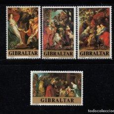 Sellos: GIBRALTAR 367/70** - AÑO 1977 - NAVIDAD - PINTURA - 400º ANIVERSARIO DEL NACIMIENTO DE RUBENS. Lote 96053719