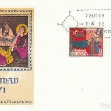 Sellos: EDIFIL 2061/2, NAVIDAD 1971, ALTARES DE AVIA Y SANT ANDREU DE SAGARS, PRIMER DIA DE 4-11-1971 SFC. Lote 222549446