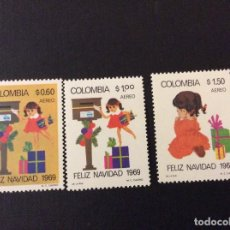 Sellos: COLOMBIA Nº YVERT AEREO 502/4*** AÑO 1969. NAVIDAD. Lote 113213623