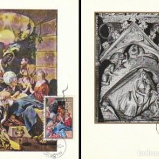 Sellos: EDIFIL 1944/5, NAVIDAD 1969 (MAYNO Y CATEDRAL DE GIRONA), TARJETA MAXIMA PRIMER DIA 3-11-1969 SERIE . Lote 155227152