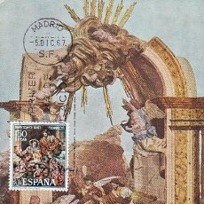 Sellos: EDIFIL 1838, NAVIDAD 1967, NACIMIENTO DE SALZILLO, TARJETA MAXIMA DE PRIMER DIA DE 5-12-1967. Lote 155223264