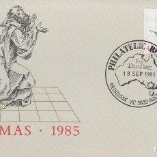 Sellos: AUSTRALIA, NAVIDAD 1985, ADORNOS NAVIDEÑOS, PRIMER DIA DE 18-9-1985. Lote 121502571