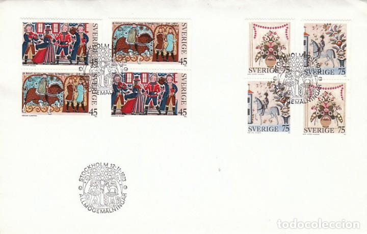 SUECIA IVERT 807/10, NAVIDAD 1973, PINTURAS RUSTICAS DEL SIGLO XVI, PRIMER DIA DE 12-11-1973 (Sellos - Temáticas - Navidad)
