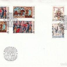 Sellos: SUECIA IVERT 807/10, NAVIDAD 1973, PINTURAS RUSTICAS DEL SIGLO XVI, PRIMER DIA DE 12-11-1973. Lote 127546647