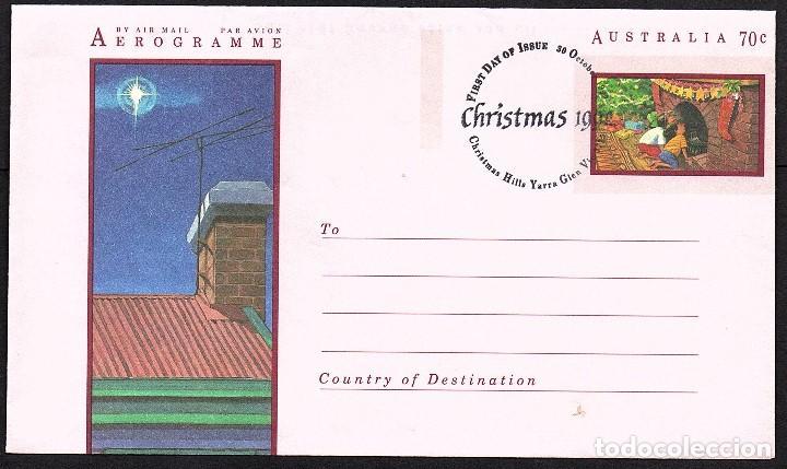 AEROGRAMA AUSTRALIA - NAVIDAD 1.990. MATASELLOS PRIMER DIA. (Sellos - Temáticas - Navidad)