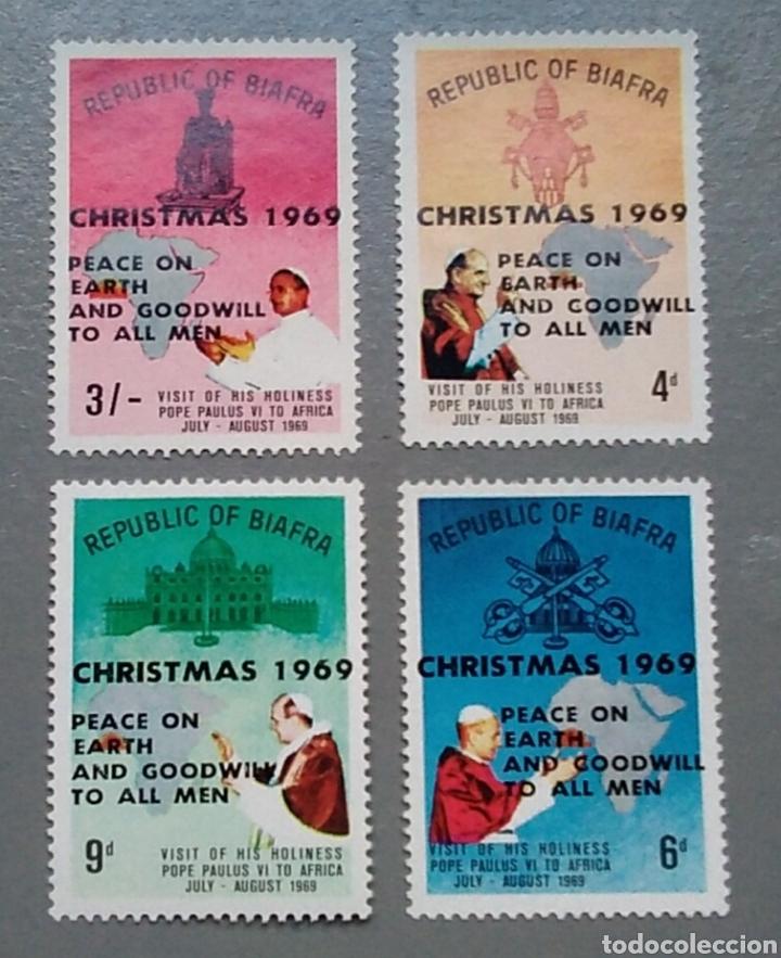 4 SELLOS BIAFRA 35 / 38 NIGERIA NAVIDAD AÑO 1969 PAPA PABLO VI VISITA A ÁFRICA NUEVO (Sellos - Temáticas - Navidad)