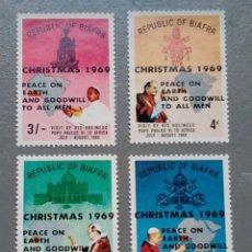 Sellos: 4 SELLOS BIAFRA 35 / 38 NIGERIA NAVIDAD AÑO 1969 PAPA PABLO VI VISITA A ÁFRICA NUEVO. Lote 142244274