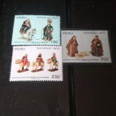 Sellos: SELLOS DE PERU NUEVOS/1971/NAVIDAD/ANTIGUAS TALLAS DE PIEDRA NUMANGA/ARTE/ESCULTURAS/ANIMALES/FIGURA. Lote 143986957