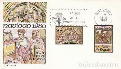 EDIFIL 2593/4, NAVIDAD 1980 (LA CORUÑA), PRIMER DIA DE 12-11-1980 SOBRE DEL SFC (Sellos - Temáticas - Navidad)