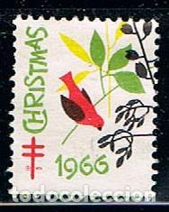 ESTADOS UNIDOS, VIÑETA ANTITUBERCULOSOS NAVIDAD 1966 (Sellos - Temáticas - Navidad)