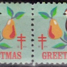 Sellos: 1968 - U.S.A. / ESTADOS UNIDOS - VIÑETA CHRISTMAS GREETINGS - LOTE DE 2. Lote 148139766