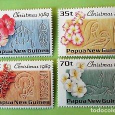 Sellos: PAPÚA NUEVA GUINEA. 601/04 NAVIDAD. FLOR E IGLESIA-VIRGEN Y NIÑO-VELA-PALOMA CON RAMO DE OLIVO. 1989. Lote 151960462