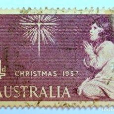 Sellos: SELLO POSTAL AUSTRALIA 1957, 4 D. NAVIDAD 1957, CONMEMORATIVO, USADO. Lote 153277014
