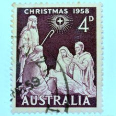 Sellos: SELLO POSTAL AUSTRALIA 1958, 4 D, NAVIDAD 1958, CONMEMORATIVO, USADO. Lote 153277254