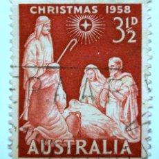 Sellos: SELLO POSTAL AUSTRALIA 1958, 3 1/2 D, NAVIDAD 1958, CONMEMORATIVO, USADO. Lote 153289566