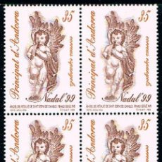 Sellos: ANDORRA EDIFIL Nº 274, NAVIDAD 1999, NUEVO EN BLOQUE DE 4. Lote 155452678