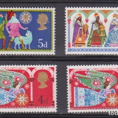 Sellos: INGLATERRA - NAVIDAD - 1969 - SERIE COMPLETA 4V (NR. YVERT: 579/81) + 579A . Lote 172786269