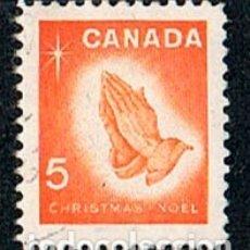 Timbres: CANADA Nº 396, NAVIDAD 1966, MANOS ROGANTES (REZANDO), USADO. Lote 177045433