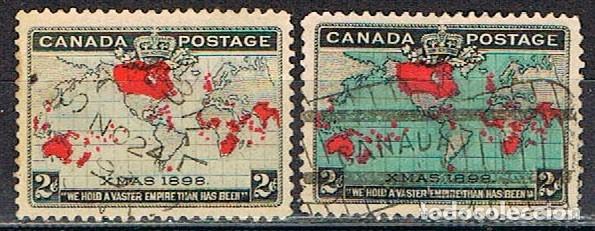CANADA Nº 65 Y 65 A, NAVIDAD AÑO 1898, USADO (SERIE COMPLETA) (Sellos - Temáticas - Navidad)